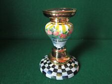 Mackenzie Childs Glass Courtly Check Roses Striped Gold Signed Candlestick (JT)