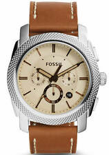 Fossil FS5131 Men's Machine Chronograph Tan Dial Tan Leather Strap Watch