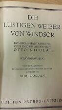 Otto Nicolai: The Merry Wives Of Windsor: Music Score (J5)