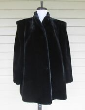 Vintage Intrigue Womens Black Faux Fur by Glenoit Winter Dress Jacket Coat 12