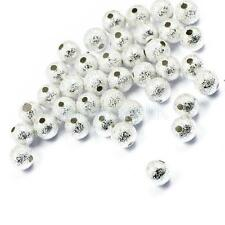 50pcs Silver Metal Stardust Beads Round Spacer 6mm For Jewelry DIY Making