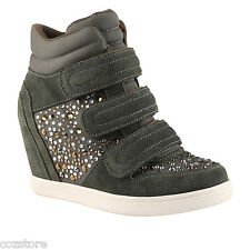 Aldo Lacks Wedge Fashion Sneakers Khaki Green Womens Size EU 38 US 7.5 B