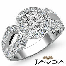 Round DiamondClassic Split Shank Engagement Ring GIA H VS2 14k White Gold 2.42ct