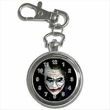 NEW* HOT BATMAN THE JOKER Silver Tone Key Chain Ring Watch