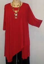 Coco & Juan Lagenlook Plus Size Tunic Red Traveler Knit Asymmetric Top 3X4X B60""