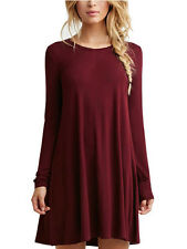 Women Ladies Soft Solid Casual Loose Dresses Clothes Robe Long Sleeve Dress Tops