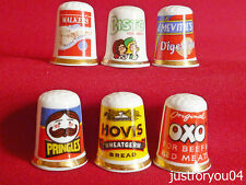 Set of 6 OXO,Hovis,Bisto,Walkers Crisps Pringles.Mcvities (Gold Gilded) Thimbles