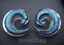 PAIR OF PYREX GLASS 0G 8MM DICHRO BLUE PLUGS BODY JEWELRY SPIRALS