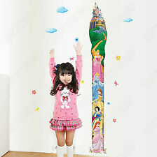 Disney Princess Height Chart Wall Stickers Art Decor Nursery Kid Growth Decal