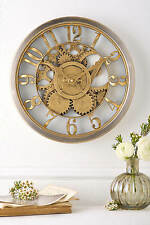 Hometime Gold Wall Clock Analogue Vintage Style Cog Design Time Piece
