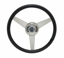 "14"" Black Banjo Steering Wheel with Stainless Steel Spokes and Horn Button"