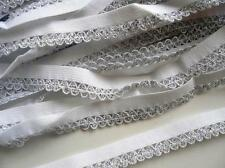 "10 yards Elastic/Spandex Scallop Lace 1/2"" Trim/Sewing/Craft/holiday T75-Silver"