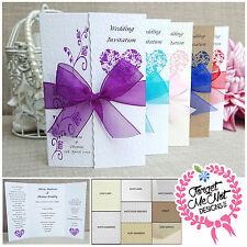 50 Gatefold Wedding Invitations- Loads of  Ribbon colours- Free P+P!