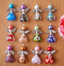 12x Guardian Angel Charms Pendants Lampwork Heart Beads Wings COLORS MAY VARY