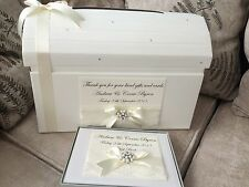 IVORY/WHITE PERSONALISED WEDDING POST BOX CHEST AND GUEST BOOK GIFT SET