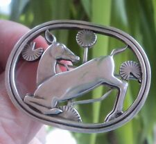Georg Jensen Danish Silver Kneeling Deer 256 Brooch Denmark - London Import 1991