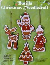 Bucilla Spice Cookies Jeweled Christmas Ornaments Needlecraft Kit Set of 4