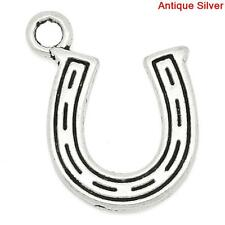 25 ANTIQUE SILVER LUCKY HORSESHOE CHARMS/PENDANTS 16 x 14mm EMBELLISHMENTS (50G)