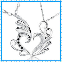 Modern Charm Stainless Angel Wings Pendant Necklace For Men Women Couple Lover