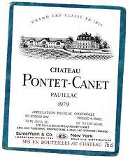PAUILLAC 5E GCC ETIQUETTE CHATEAU PONTET CANET 1979 75 CL EXPORT USA §14/12§