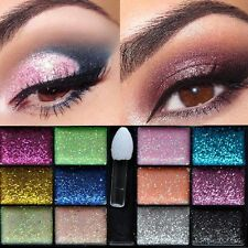 12 Color Hot Women Warm Glitter Makeup Cream Eyeshadow Brush Palette Party