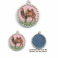 Double sided PENDANT  CAMEL   Plus MIRROR  Drop charm Framed   #446MEL