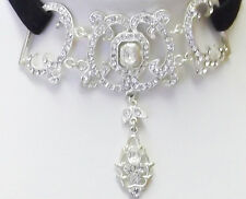 Victorian white austrian crystals chocker necklace 15in