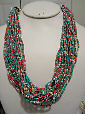 Multi Strand Turquoise And Coral Glass Seed Bead Necklace