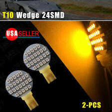 2X T10 Wedge 24SMD Amber/Yellow W5W 192 194 2825 RV Camper Landscaping LED Light