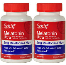 2 Pack Schiff Melatonin Ultra 3 mg Natural Sleeping Aid Pills Total 600 Tablets
