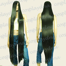 50 inch Heat Styable Wigs w 22 inch Extra long Bang Black Cosplay DNA 99001