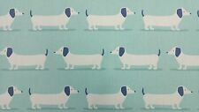 Fryetts Hound Dog Duck Egg Curtain Upholstery Craft Designer Cotton Fabric