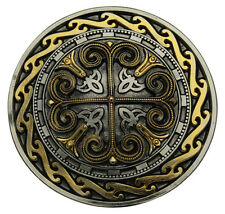 Celtic Round Cross Belt Buckle With Gold Plate Detailing In a Gift Box + Stand.