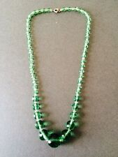VINTAGE FACETED ART DECO GREEN BEAD NECKLACE COSTUME JEWELLERY