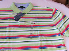 Men's Tommy Hilfiger Polo shirt S small stripes 7841606 Green as Swatch 312 knit