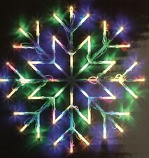 Natale Finestra Neve Fiocco Multi Color Luce 35X35Cm statico / Flash