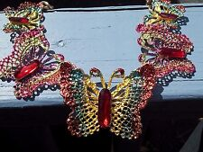 BETSEY JOHNSON FILIGREE RUBY RED CRYSTAL MULTICOLOR BUTTERFLY NECKLACE EARRINGS