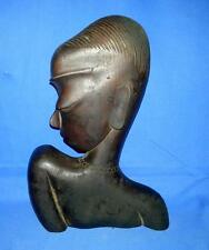 Antique Old Collectible Rose Wood Primitive African Tribal Woman Figurine