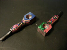 Wood Tobacco Smoking Pipe Multi Colored, Metal screens & Cleaning Tool Poker
