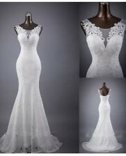 UK New White/Ivory Lace Mermaid  Wedding Dress Bridal Gown Size 6-18