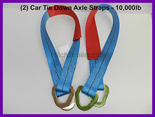 (2) Car Tie Down Axle Straps Trailer Truck RV Axle 10,000# Flatbed, Wrecker Tow