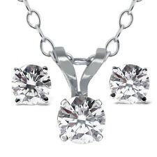 "14K White Gold 0.65 Ct Diamond Pendant and Earring Set with 18"" Chain"