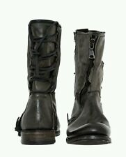JOHN VARVATOS Distressed Leather Biker Boots UK size: 9.5 ,EU 43.5
