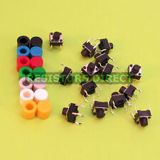 14pcs 6x6x6 Tactile Tact Switch & 7 Color Button Caps Momentary X47