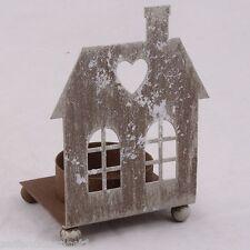 Haus Teelicht Metall Windlicht Kerzenhalter shabby chic Landhaus Weihnachten