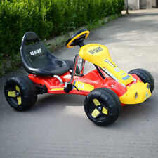 Red Go Kart 4 Wheel Kids Racer Ride Outdoor on Stealth Pedal Powered  Car Racer