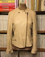 WALLIS blush beige pink 100% leather biker moto jacket UK 10 US 6 fitted
