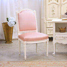Shabby Cottage Chic Pink Silk Square Back Single Chair French Vintage Style