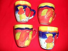 Beautiful Laurie Gates Lot of 4 Coffee Mug Peppers & Polka Dots New Unused