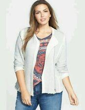 Lucky Brand Women's Heather Grey Raw Edge Asymmetrical Moto Jacket Sweater Sz 1X